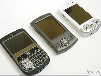 Cлева направо: HTC S620 (Excalibur), HTC P3300 (Artemis) и HTC P3600 (Trinity)