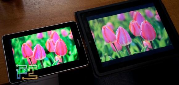 Samsung Galaxy Tab 7.i сравнение с экраном iPad