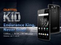 OUKITEL K10  - первый в мире смартфон с батареей на 11000 мАч получил полные спецификации